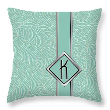 1920s Blue Deco Jazz Swing Monogram ...letter K Throw Pillow