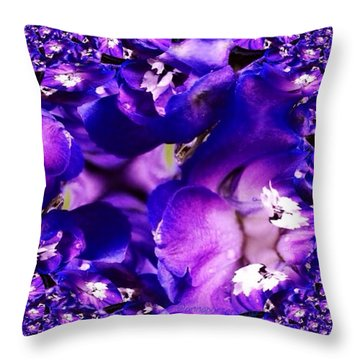 Blue Delphinium Abstracted Throw Pillow