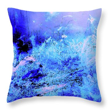Blue Digital Artwork With Dots And Stripes And Sandstone Finish Throw Pillow