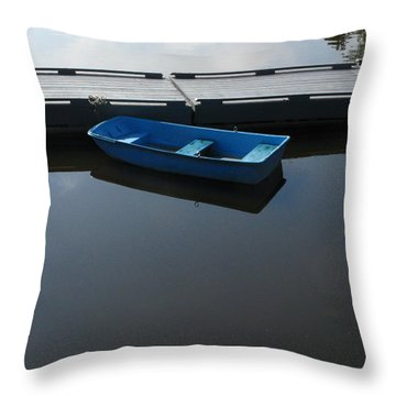 Blue Dinghy Quiet Waters Throw Pillow