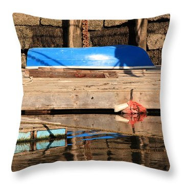 Blue Dingy Throw Pillow