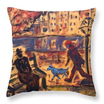 Blue Dog In The City Throw Pillow