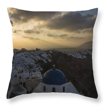 Blue Dome - Santorini Throw Pillow