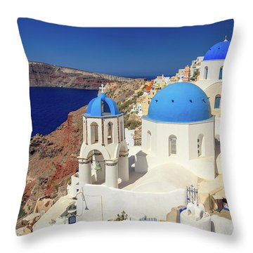 Blue Domed Churches Throw Pillow
