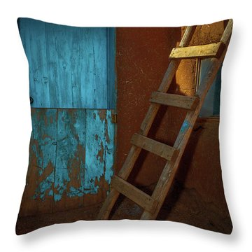 Blue Door And Ladder - Taos Pueblo Throw Pillow