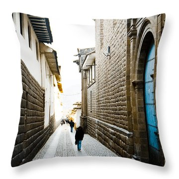 Blue Door In Cusco Throw Pillow by Darcy Michaelchuk