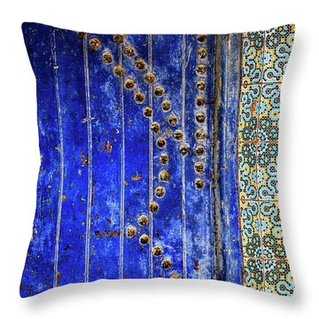 Blue Door In Marrakech Throw Pillow by Marion McCristall