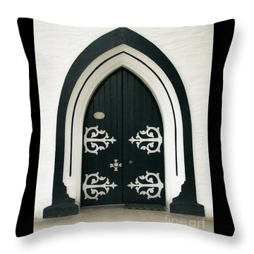 Blue Door Throw Pillow by Karen Lewis