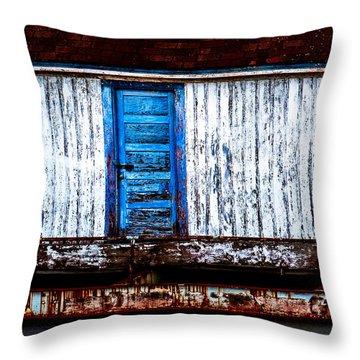 Blue Door Old Mill Building Throw Pillow