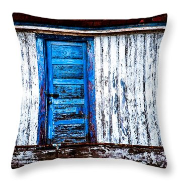 Blue Door Old Mill Building Throw Pillow