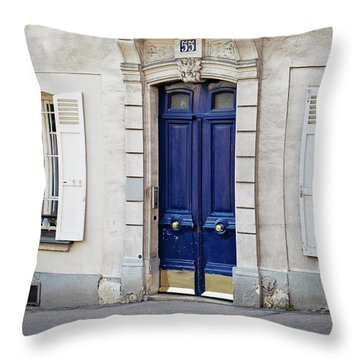 Throw Pillow featuring the photograph Blue Door - Paris, France by Melanie Alexandra Price