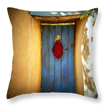 Blue Door With Chiles Throw Pillow
