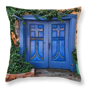 Blue Doors - Old Town - Albuquerque Throw Pillow