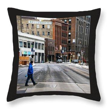 Blue Down Jacket Throw Pillow