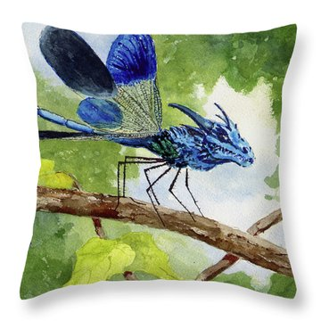 Throw Pillow featuring the painting Blue Dragonfly by Sam Sidders
