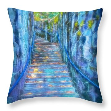 Blue Dream Stairway Throw Pillow
