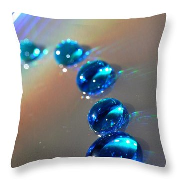 Blue Drops Throw Pillow by Sylvie Leandre