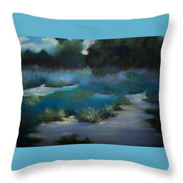 Blue Eden Throw Pillow