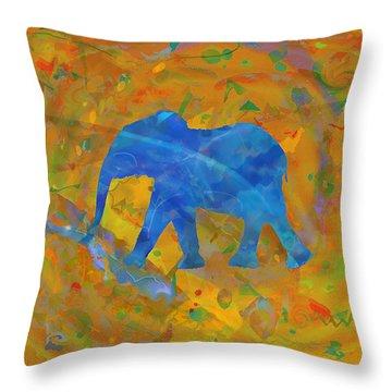 Throw Pillow featuring the digital art Blue Elephant by David Klaboe