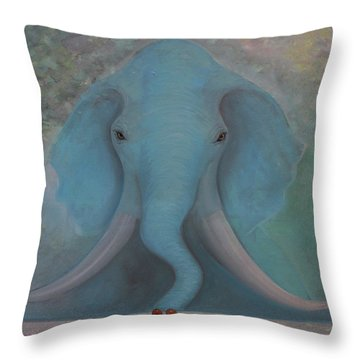Throw Pillow featuring the painting Blue Elephant by Tone Aanderaa