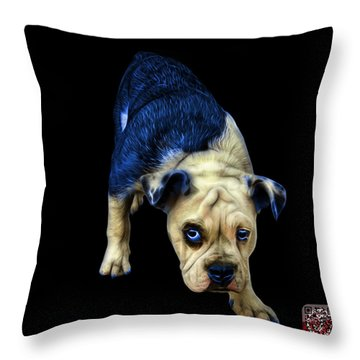 Blue English Bulldog Dog Art - 1368 - Bb Throw Pillow