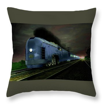 Blue Express Throw Pillow by Steven Agius