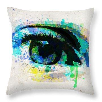 Blue Eye Watercolor Throw Pillow