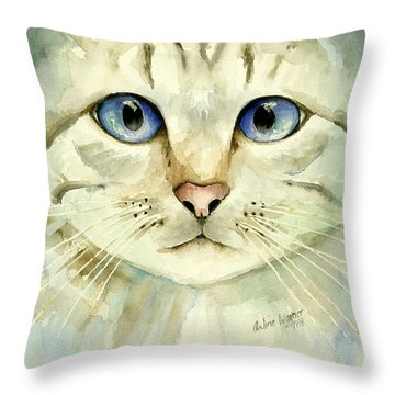 Blue-eyed Cat Throw Pillow by Arline Wagner