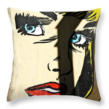 Blue Eyed Comics Lady Mural Throw Pillow