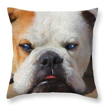 Blue-eyed English Bulldog - Painting Throw Pillow