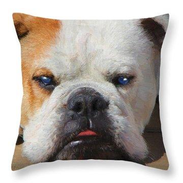 Blue-eyed English Bulldog - Painting Throw Pillow