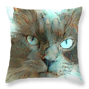 Blue Eyed Persian Cat Watercolor Throw Pillow