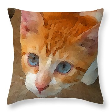 Blue Eyed Punk  Throw Pillow
