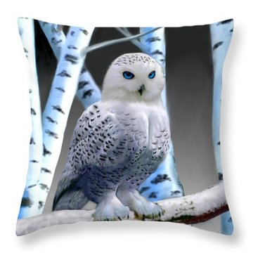 Blue-eyed Snow Owl Throw Pillow by Glenn Holbrook