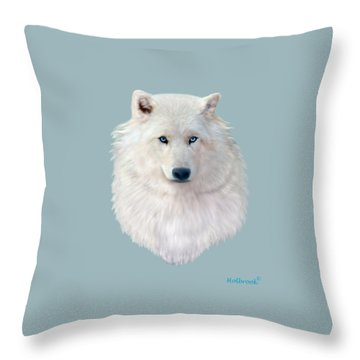Blue-eyed Snow Wolf Throw Pillow