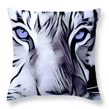 Blue Eyed Tiger Throw Pillow