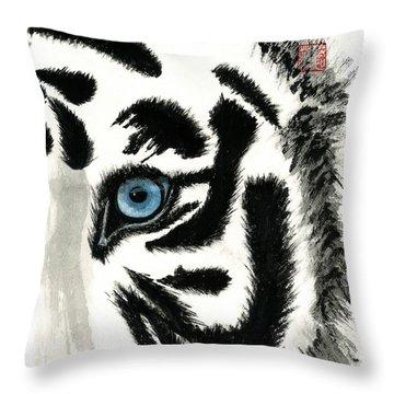 Blue-eyed Tiger Throw Pillow
