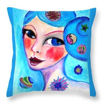 Blue Eyed Woman Throw Pillow