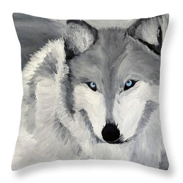 Throw Pillow featuring the painting Blue Eyes by Kevin Daly