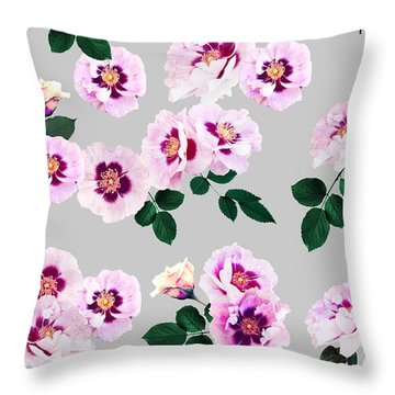 Blue Eyes Roses Throw Pillow