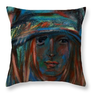 Blue Faced Girl Throw Pillow