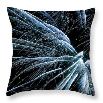 Blue Fairy Fireworks #0710_3 Throw Pillow