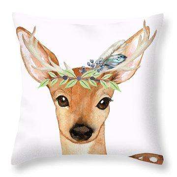 Blue Feather Woodland Boho Deer Throw Pillow