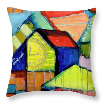 Throw Pillow featuring the painting Blue Fin's Fresh Seafood by Susan Stone