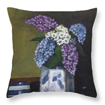Blue Fish Vase Throw Pillow by Kim Selig