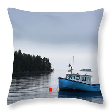 Blue Fishing Boat In Fog Throw Pillow