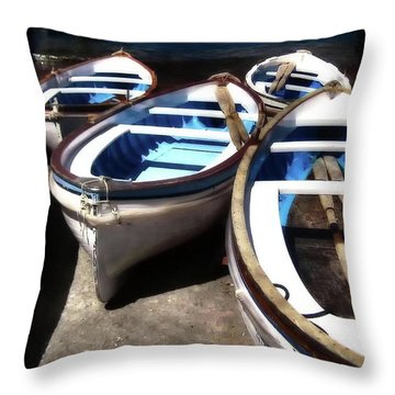 Blue Fishing Boats Throw Pillow