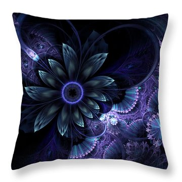 Blue Fleur And Lace Throw Pillow