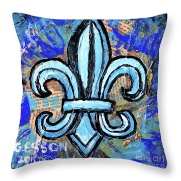 Throw Pillow featuring the mixed media Blue Fleur De Lis by Genevieve Esson