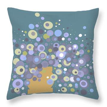 Blue Flora  Throw Pillow